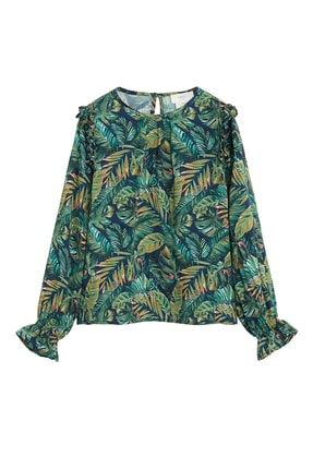 Mango Tropikal desenli bluz 3