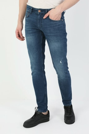 041 Danny Düşük Bel Dar Paça Slim Fit Mavi Erkek Jean Pantolon resmi