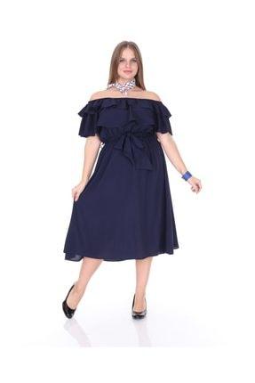 Kadın Büyük Beden Roba Fırfır Katlı Elbise Lacivert resmi