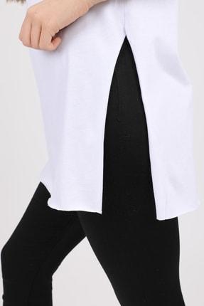 MD trend Kadın Beyaz V Yaka Yırtmaçlı Kısa Kol Pamuklu T-Shirt Mdt3025 2