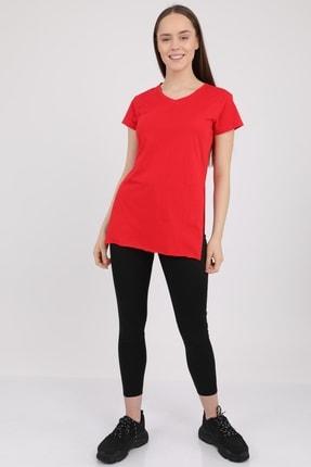 MD trend Kadın Kırmızı V Yaka Yırtmaçlı Kısa Kol Pamuklu T-Shirt Mdt3025 0