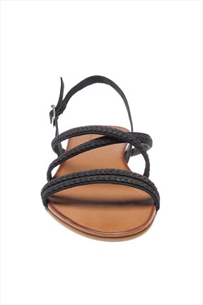 İnci Hakiki Deri Siyah Kadın Sandalet 120120077038 3