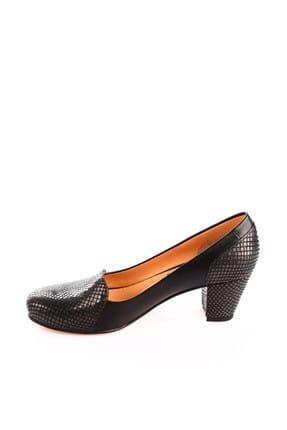 Dgn Gümüş Petek Siyah Kadın Klasik Topuklu Ayakkabı 258-148 2