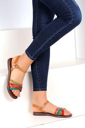 Pembe Potin Hakiki Deri Multi Kadın Sandalet A1133-19 1