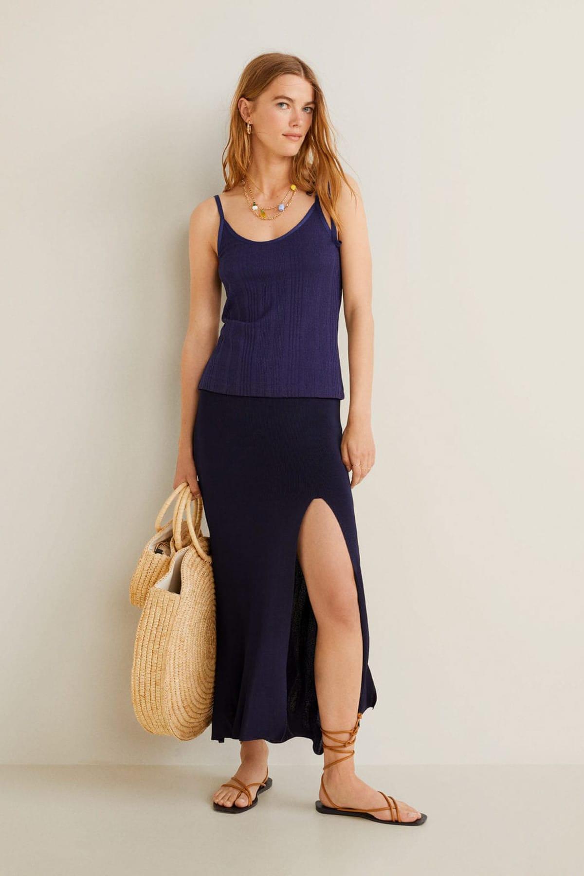 Mango Kadın Mavi Lastikli Dokuma Askılı Üst 43039088