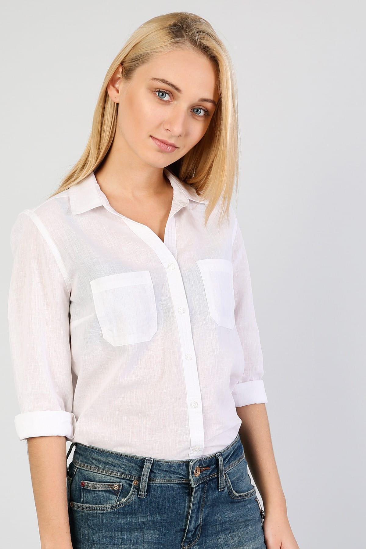 KADIN Regular Fit Shirt Neck Kadın Beyaz Uzun Kol Gömlek CL1042550