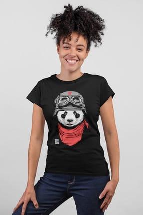 تصویر از Bandanalı Panda Siyah Kısa Kollu Kadın|Bayan Tişört