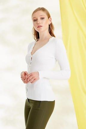Journey Kadın Beyaz Triko Hırka 19YTRK702 2