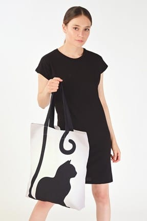 Addax Kadın Kedi Desenli Çanta Ç09 ADX-0000019107 2