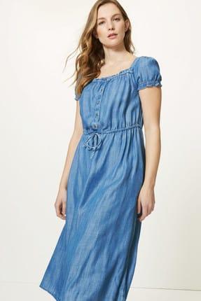 Marks & Spencer Kadın Mavi Yakası Düğmeli Midi Elbise T42005609 1