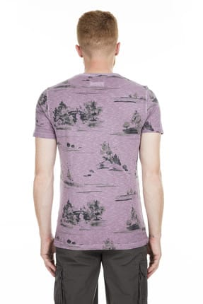 Lufian Erkek Issa Modern Grafik T- Shirt Koyu Mor 111020016100860 1