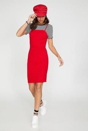 Koton Kadın Kırmızı Kolsuz Midi Askılı Elbise 9YAL88011OK 0