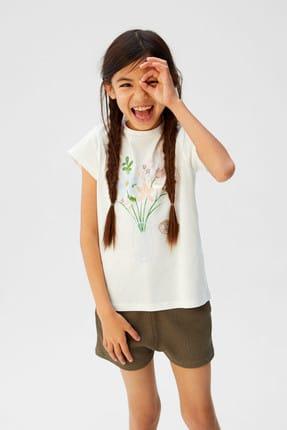 Mango Kırık Beyaz Kız Çocuk Desenli Pamuklu Tişört 53031091 1