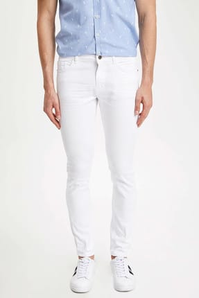 Defacto Carlo Skinny Fit Düşük Bel Dar Paça Beyaz Jean Pantolon 0