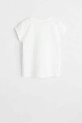 Mango Kırık Beyaz Kız Çocuk Desenli Pamuklu Tişört 53031091 2
