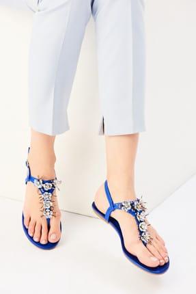 İnci Hakiki Deri Koyu Mavi Kadın Sandalet 120130002045 1