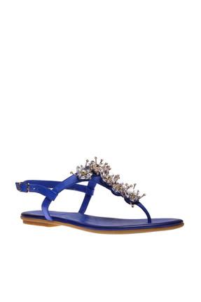 İnci Hakiki Deri Koyu Mavi Kadın Sandalet 120130002045 4