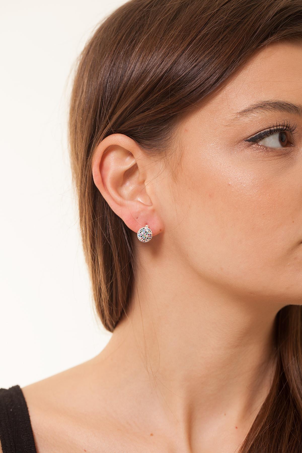Ninova Silver Kadın Yuvarlak Model Mix Taşlı Gümüş Küpe NNVSLVR02632 0