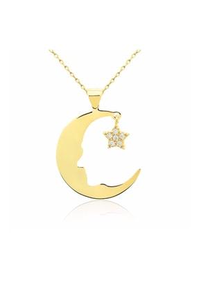 Chavin Atatürk Silüeti Ay Yıldız Taşlı Bayan Kolye dp85 0