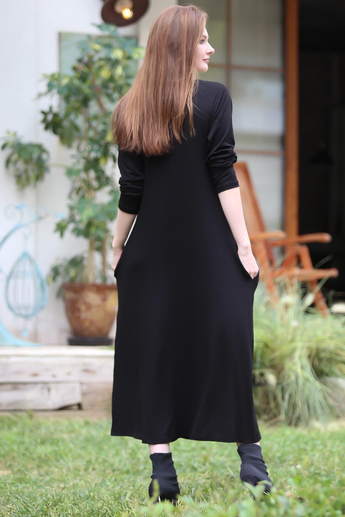 Chiccy Kadın Siyah Gizli Cepli Oversize Salaş Elbise C10160000EL97767 3