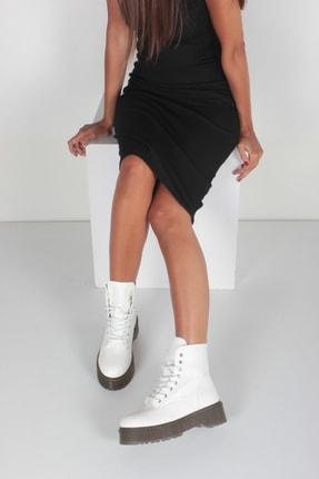 İnan Ayakkabı Beyaz Cilt Kadın Bot KY92515 0