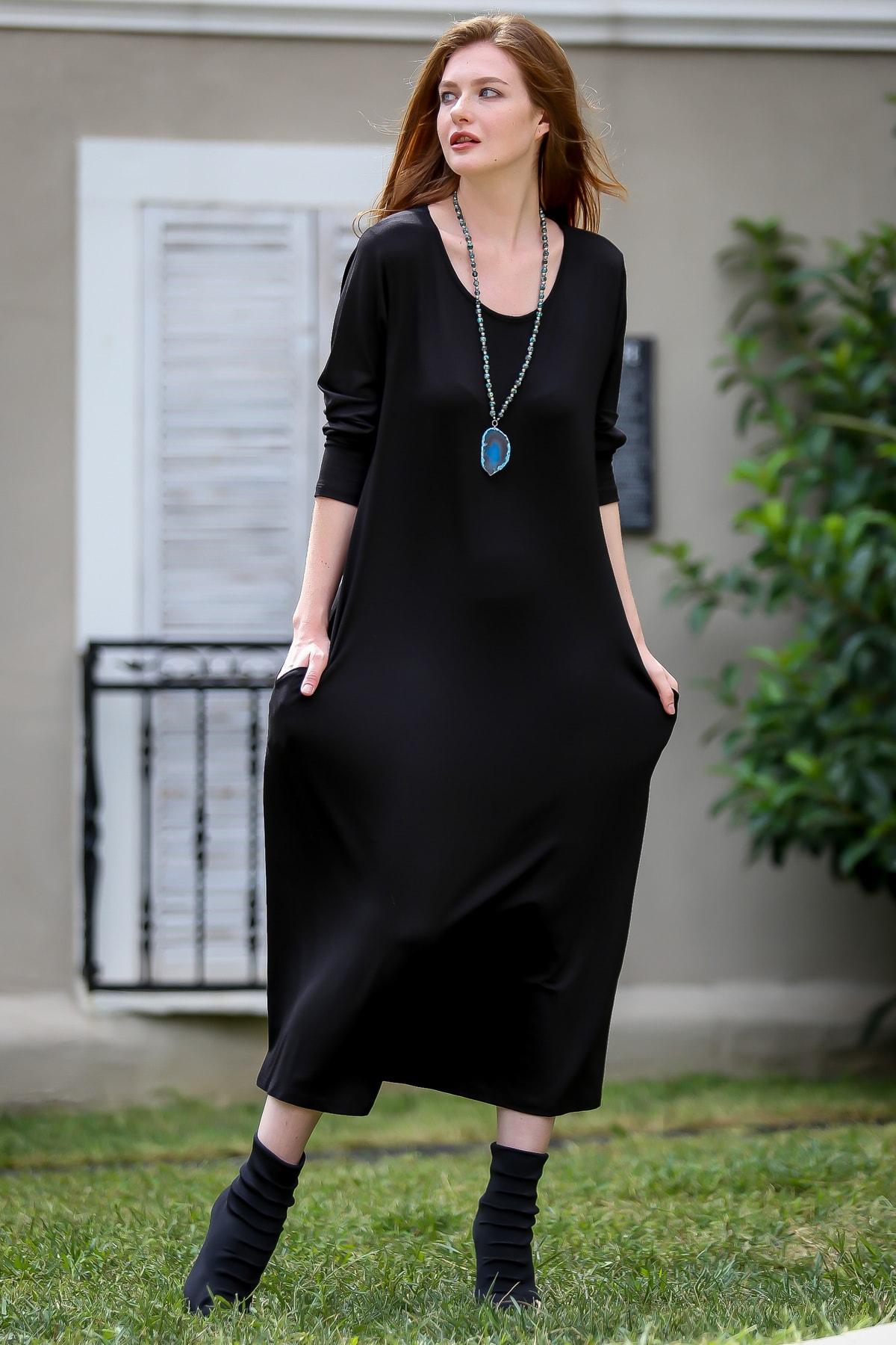 Chiccy Kadın Siyah Gizli Cepli Oversize Salaş Elbise C10160000EL97767 1
