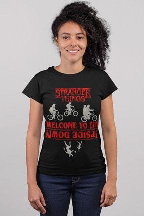 تصویر از Bisikletli Stranger Things Siyah Kısa Kollu Kadın T-shirt