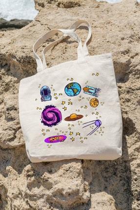 تصویر از Bag Uzay ve Astronot Temalı Alışveriş Plaj Bez Çanta