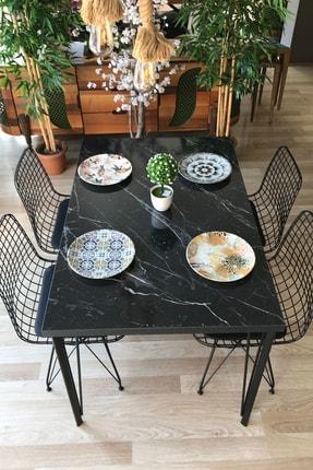 TE-HOME Siyah Mermer Desenli 120 cm Masa takımı Dört Sandalye 0