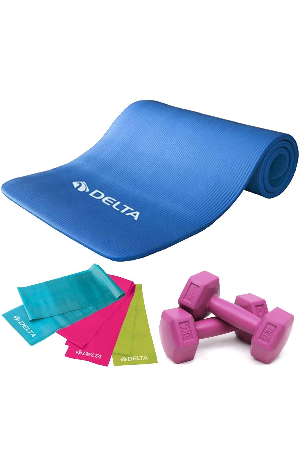 Delta 1 Cm Pilates Minderi, 3 Lü Pilates Bandı Plates Lastiği, 1 Kg x 2 Adet Dambıl 0
