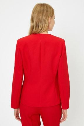 Koton Kadın Kırmızı Düğme Detaylı Ceket 0KAK52938UW 4