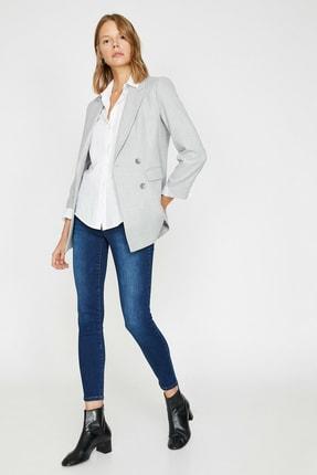 Kadın Mavi Düşük Bel Push Up Skinny Jean 0KAK47222DD