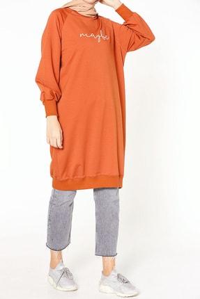 ALLDAY Kadın Kiremit Nakışlı Penye Tunik Sweatshirt P51983 1