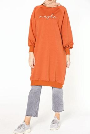 ALLDAY Kadın Kiremit Nakışlı Penye Tunik Sweatshirt P51983 4