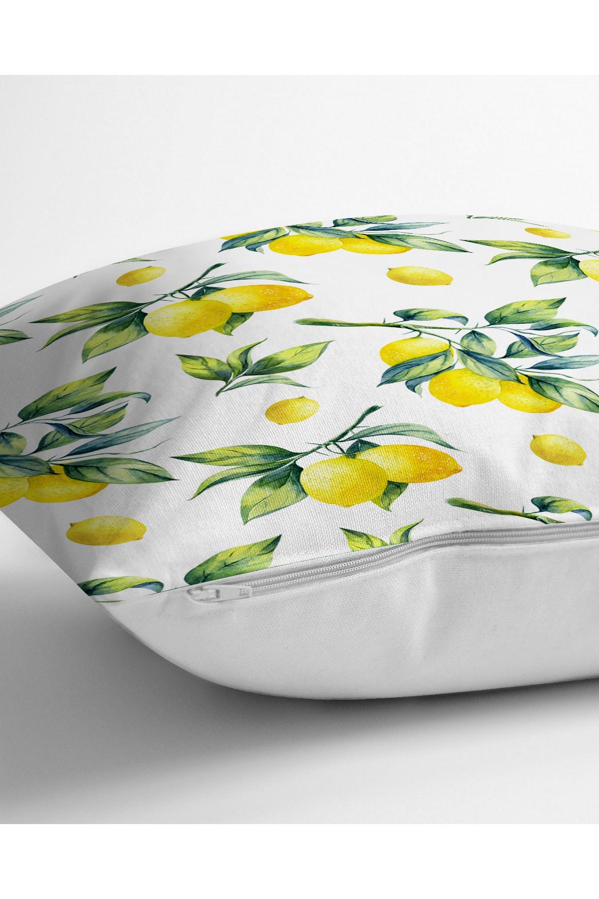 Realhomes Beyaz Zeminde Limon Desenli 3D Dekoratif Yastık Kırlent Kılıfı 2