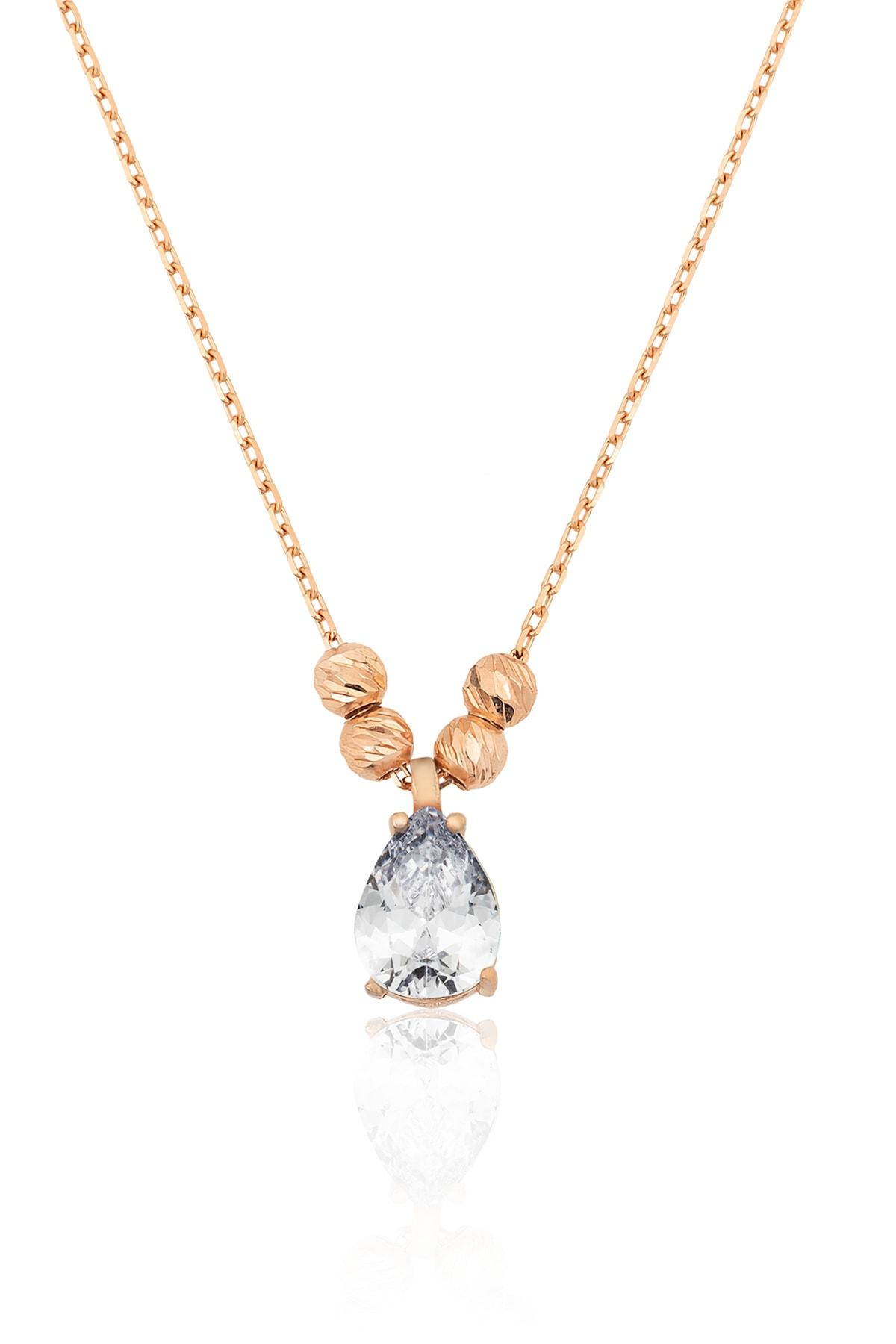 Nano Zirkon Damla Kolye Kenarları Çift Dorica Toplu Rose Altın Kaplama 925 Ayar Gümüş