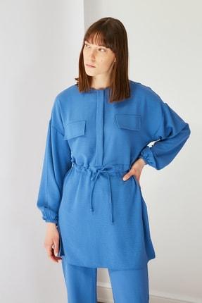 Trendyol Modest Mavi Cep Detaylı Tunik Pantolon Kuşak Detaylı Alt-Üst Takım TCTSS21AU0238 4