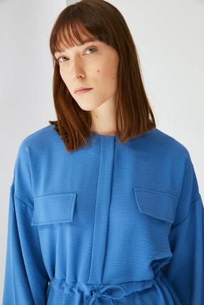 Trendyol Modest Mavi Cep Detaylı Tunik Pantolon Kuşak Detaylı Alt-Üst Takım TCTSS21AU0238 2