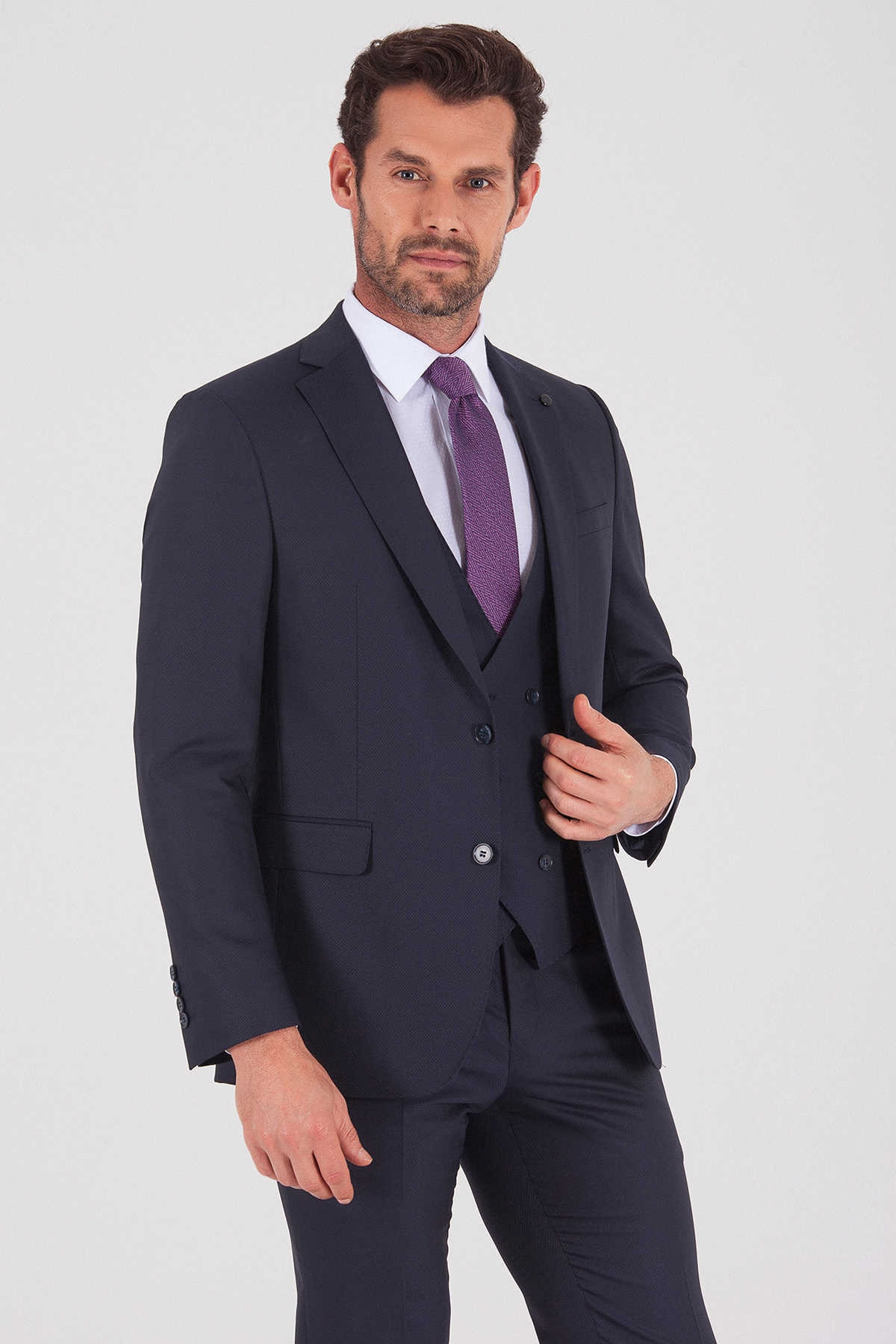 Hatemoğlu Yelekli Slim Fit Lacivert Takım Elbise 33202019D001 3