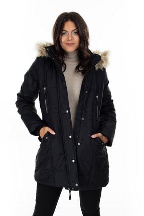 Vero Moda Kadın Siyah Yakası Suni Kürklü Uzun Mont 10215237 VMTYPHOON 3