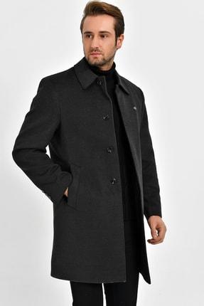 Picture of Erkek Füme Büyük Beden Yün Karışımlı Kaşe Gömlek Yaka Palto 9060 B.B