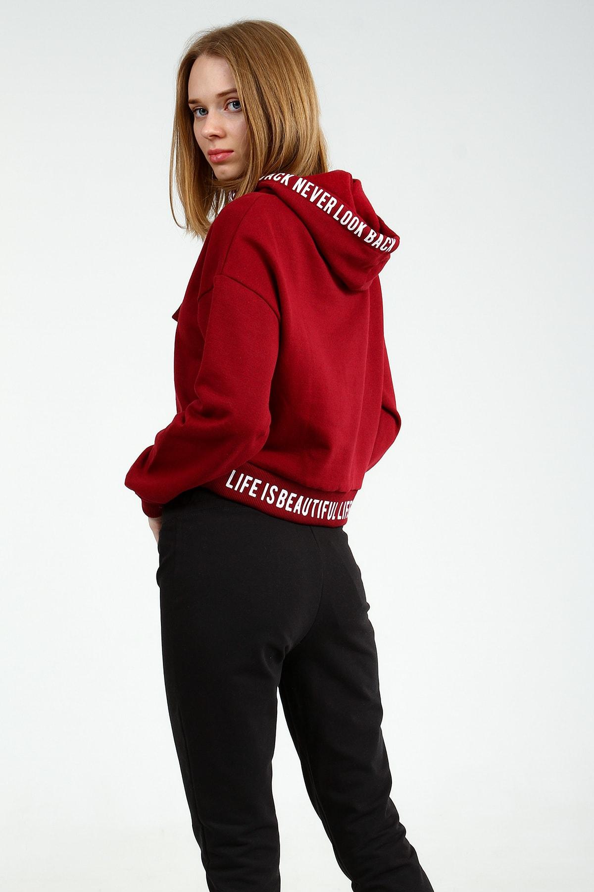 Collezione Kadın Bordo Regular Sweatshirt Ermen UCB150463A15 2