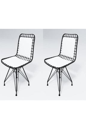 Kenzlife Mazlum Sırt Minderli Ofis Cafe Bahçe Mutfak Kafes Tel Sandalyesi 2 Li 0