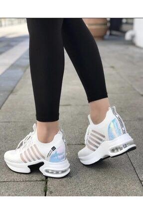 Guja Kadın Beyaz Gizli Topuk Yüksek Taban Sneaker 1