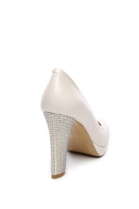 Kemal Tanca Beyaz Kadın Vegan Klasik Topuklu Ayakkabı 22 2048 BN AYK 2