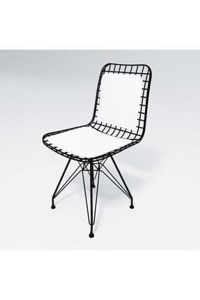 Kenzlife Mazlum Sırt Minderli Ofis Cafe Bahçe Mutfak Kafes Tel Sandalyesi 2 Li 1