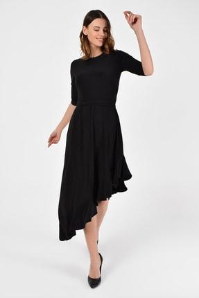 Laranor Kadın Siyah Asimetrik Kesim Elbise 19L6750 3
