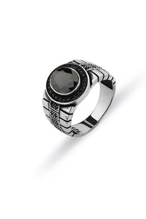 MySilvers Oniks Taşlı Erkek Yüzüğü Erkek Oksit Onix 0