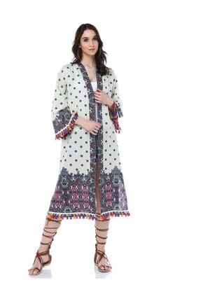 Diger Karakterler Etnik Desenli Aksesuar Detaylı Pamuklu Kumaştan Yazlık Uzun Kimono Elbise 2