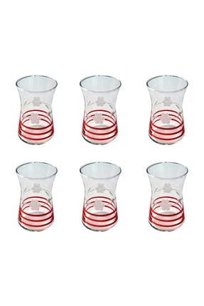 BAŞAK 42361 Heybeli Papatya (kırmızı) Dekor 6 Adet Çay Bardağı 0